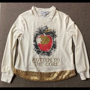 Disney Girls Long Sleeve Top with Gold Glitter